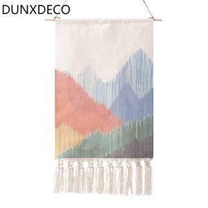 DUNXDECO висит флаг северные геометрические художественные линии кистями хлопчатобумажная нить гобелен современный новый дом стены ковер украшения