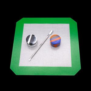 Kit di strumenti dab silicone Set con tappetino pad in silicone Contenitori tamponando per cera Dabs vasetti In acciaio inox titanio Dabber Tool per bong oil rig