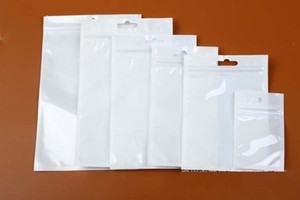 12 * 20cm Clear + White Pearl Plastiktasche Poly OPP Verpackung Reißverschluss Reißverschluss-Verschluss PVC-Kleinpaket-Beutel Schmuck Lebensmittel USB-Kabel Telefon-Kasten 10 * 18cm
