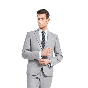 Taliored Made Hellgrau Mann Anzug Einreiher Anzüge Bräutigam Smoking Herren Hochzeit Prom Abendessen Anzüge Terno Masculino (Jakcet + Hosen)