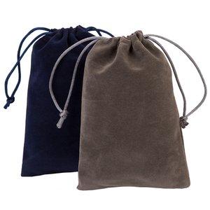 새로운! 20PCS / 많은 10X15cm (3.9'X5.8 ') 블루 그레이 벨벳 졸라 매는 끈 파우치 가방 보석 주최자 벨벳 크리스마스 웨딩 선물 가방