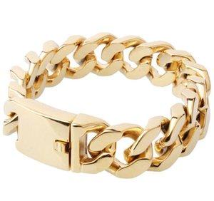 21,6 cm (8,5 Zoll) Goldschmuck Bling 316L Edelstahlschmuck Herren Miami kubanische Kandare Kettenglied Armband Armreif Schwere riesige 23mm