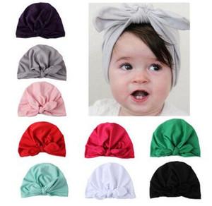 Neue Europa US Baby Hüte Bunny Ear Caps Turban Knoten Kopf Wraps Infant Kinder Indien Hüte Ohren Abdeckung Childen Milch Seide Beanie 60 stücke