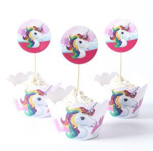 24pcs / set Licorne arc-en-ciel cupCake Toppers cake wrappers gâteau d'anniversaire décoration Baby Shower Party Supplies décoration outils