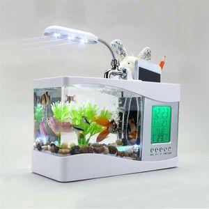 Aquarium Schwarz / Weiß USB Mini Aquarium Aquarium Aquarium mit LED-Lampe Licht LCD-Bildschirm und Uhr Fish Tank