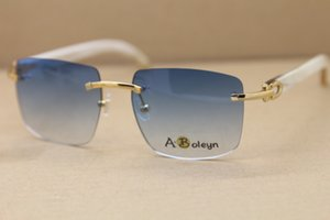 2020 Cat Eye Мужские Солнцезащитные очки бренда дизайнер мужчин Rimless T8300816 White Buffalo Horn очки Марка дизайн 2020 Горячие продажи половина кадра солнцезащитные очки