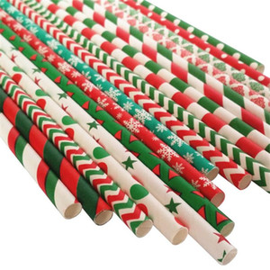 Tema de Natal feliz Papel Palha Vermelho Verde Tubularis Onda Floco De Neve de Moda Kraft Papers Reta Tubo Beber Ferramentas 2 5 pc ii