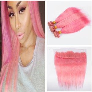 8A #Pink Renk İnsan Saç Demeti Fırsatlar Kulak Ile 3 Adet Kulak Dantel Frontal 4 Adetgrup Ipeksi Düz 13x4 Tam Dantel Frontal Kapatma