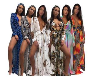 2018 Mulheres Ver Através Da Praia Longo Maxi Estampa de Leopardo Smock Camisa de Banho Sexy Senhoras Das Mulheres vestidos de bandagem dividida Roupas de Praia