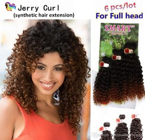 Ombre Braids 6PCS Lot Afro Kinky Curly Sew In Hair Weave Bundles 1B 27 Ombre Burgundy Purple Synthetic Braiding Crochet Hair Extensions