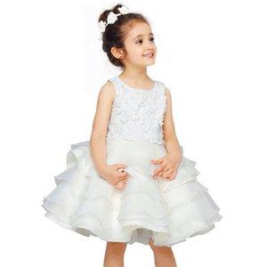 De haute qualité de nouvelles filles formelles robe de banquet de mariage Stéréo fleurs blanches filles robe cérémonie vêtements de bébé fille princesse