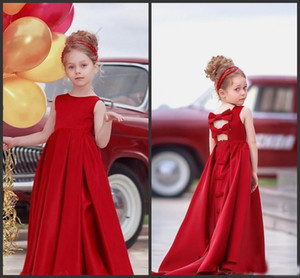 2018 Jewel Red Satin A Line Girls Pageant Dresses For Wedding Party Bithday Cheap Communion Formal Gown