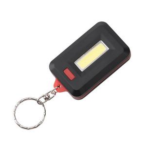 COB LED llavero linterna 3-modos Mini anillo de la lámpara de luz cuadrada llavero antorcha llavero bolsillo linterna verde / rojo