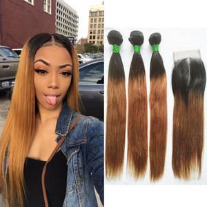Бразильский прямые человеческие волосы ткать 3 пучки с 4X4 средней части кружева фронтальная закрытие омбре цвет два тона #1B/#30 девственные наращивание волос