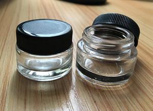 recipiente de vidro stash jar 3g 3 ml logotipo personalizado cera clara recipiente dab mini pequeno frasco cosmético com tampa preta