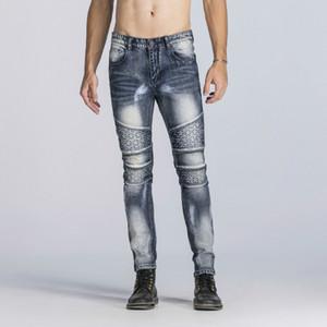 Man Vintage Stern Druck Zipper Pants Medium wäscht beiläufiger Bleistift-Jeans des Mannes Fashion Pants
