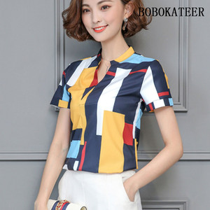 BOBOKATEER синие рубашки женские блузки 2018 плюс размер женской одежды шифон блузка свободные рубашки топы белый blusa feminina