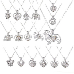 Liebeswunsch Perlenkette Käfige Medaillon Aushöhlen Auster Perlen Anhänger Halskette Süßwasser Perle Wolf Hund Bär Elefant DIY Schmuck