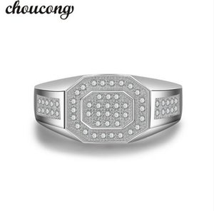 choucong Antique Men ring Pave set 5A Zircon Cz 925 Sterling silver male Bijoux Emgagement Wedding Band Ring for father gift