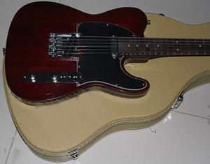 Benutzerdefinierte Limited George Harrison Tele TL Sandwich Brown E-Gitarre Palisander Griffbrett Dot Inlay, moderne F-Mechaniken, gelbe Nylon Hardcas