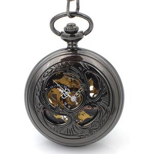 행운의 비틀 남성 시계 블랙 하프 헌터 해골 Steampunk 포켓 시계 손 바람 기계식 포켓 시계 Reloj 드 bolsillo