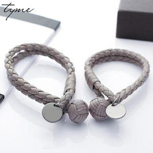 Moda titanium tyme pulseiras para as mulheres cartão redondo tecido esférico masculino e feminino amantes pulseira homens jóias pulseiras de amor
