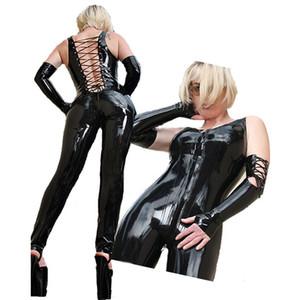 Schwarz Sexy Stripper Kleidung Catwomen Sex Frauen Latex Vinyl Fetisch Zentai Overall Kostüme Pole Dance PVC Catsuit Erotische A