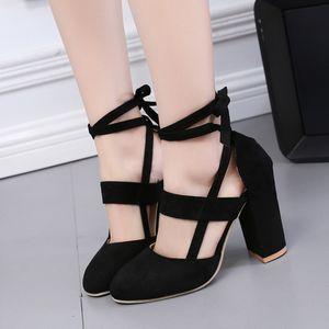 Европейский и Американский новый стиль, большой код, ботинки женщин, круглая голова, толстая пятка, высокая пятка, шнуровка, одиночный ботинок