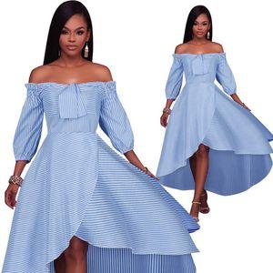 2018 moda mulher vestido de verão palavra ombro nadar vestidos de festa casual plus size mulheres roupas curto frente longo listrado vestidos para mulheres