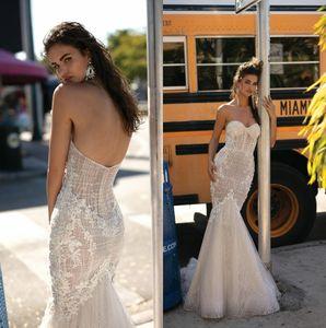 2019 Betra Lace Sirena Vestidos de novia Sweetheart Lace Appliqued Sweep Train Boda Vestidos de novia robe de mariée