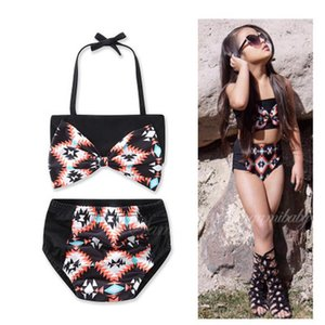 Cool Girls Swimsuits Bright Black Bowknot Lace-Up Halter Bra Tops Bow Imprimé Black Briefs Split Maillots de bain Spa Wears Maillots de bain pour enfants
