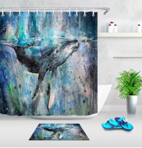 스마트 바다 거북 물고기 상어 고래 목욕 샤워 커튼 크리 에이 티브 샤워 커튼 욕실 방수 폴리 에스터 직물