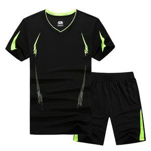 2017 새로운 여름 남자 설정 스포츠 정장 짧은 소매 T 셔츠 + 반바지 2 조각 세트 Sweatsuit 빠른 건조 트랙 양복 남자 M -9xl