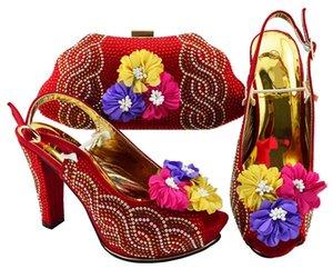 Bombas wemon vermelho lindo e bolsa com projeto da flor sapatos africanos corresponder ao conjunto de saco para JZS-02 vestido, 11CM calcanhar
