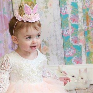 Nueva moda de encaje de bebé flores de las vendas de las niñas orejas de conejo hairbands lindo Bunny Crown niños accesorios para el cabello fiesta de cumpleaños Hairband KHA283
