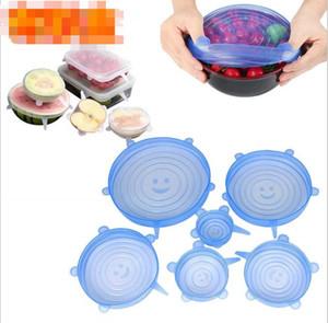 1 Conjunto de silicona estiramiento de succión Pot tapas 6pcs / set de grado alimenticio fresco Mantener Seal Wrap tapa de una olla cubierta de cocina Herramientas Accesorios