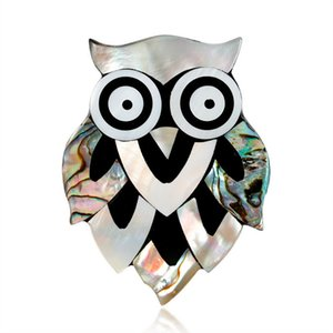 Shell owl brooch Wholesale Fashion Colorful Mental Christmas Flower Broche de Cristal Mujeres Chica Christmas lucky owl Jewelry Gifts Broche