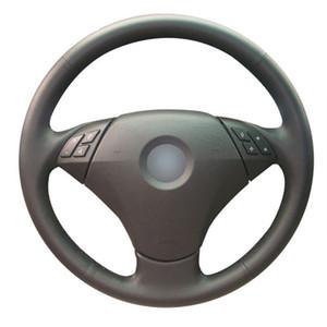 Mão-ponto de couro superior do volante na tampa do envoltório para BMW 5 séries E60 535