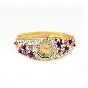 Idealway Hot Sale European Fashion Style Watch Women Bracelet Charming Rhinestone Flower Alloy Bracelets wristwatch Clock 5 Colors