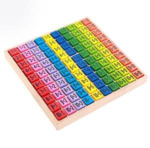 Tabla de multiplicar Juguetes matemáticos 10x10 Patrón de doble cara Tablero impreso Colorido Bloque de figura de madera Niños Juguetes educativos 12 piezas