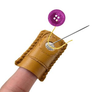 Aiguille en cuir synthétique fait à la main couvercle Thimble Coin Thimble avec pointe en métal outil de couture bricolage