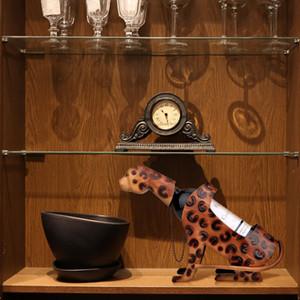 Modern Handcrafts Art Metal Sculpture Carved Leopard Wine Shelf Figurines Ornament Articles Handicrafts Home Decor