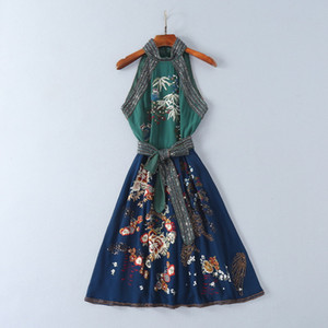 2018 Brand Same Style Dresses Flora Print A Line Knee Length Sleeveless Halter Wedding Dress Embroidery Beads Prom SH