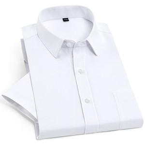 Camicia da uomo a maniche corte con base tinta unita con tasca sul petto Vestibilità regular-office da lavoro easy care formali top sociali Camicie bianche