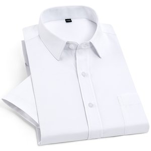 Herren Kurzarm Solide Basic Dress Shirt mit Brusttasche Regular Fit Büro Easy Care Formelle Social Tops Weiß Shirts