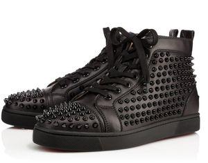 2018 Recién llegado para hombre Mujer de cuero negro, blanco, negro spikes High Top Red Bottom Sneakers, zapatos casuales de marca 36-47 Envío de la gota
