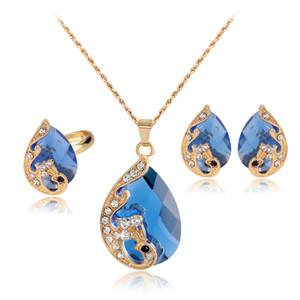 venta enterajiayijiaduo Alto grado 5 color cristal pavo real novia boda collar de color dorado aretes anillo conjunto de joyas parure bijoux femme