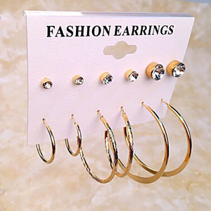 2018 south Korean style for diamond stud earrings, big circle character set,6 pairs per set