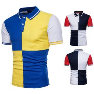 Camisas para hombres de manga corta Poloshirt Summer Men Personally Button Top Clothing Camisas de moda Cotton Contrast Color Mens Polo Shirts