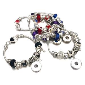 Moda Prata De Cristal Bead Glass Link Pulseira 328 18mm Botão Snap Charme Bangle Jóias Para Mulheres Adolescentes Presente